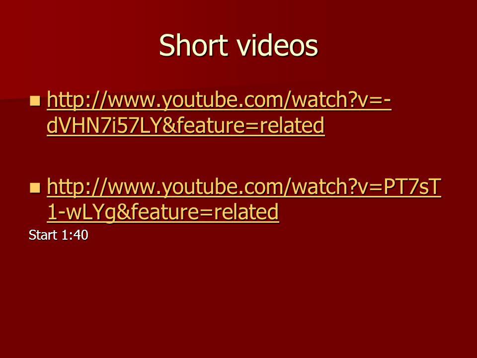 Short videos http://www.youtube.com/watch?v=- dVHN7i57LY&feature=related http://www.youtube.com/watch?v=- dVHN7i57LY&feature=related http://www.youtube.com/watch?v=- dVHN7i57LY&feature=related http://www.youtube.com/watch?v=- dVHN7i57LY&feature=related http://www.youtube.com/watch?v=PT7sT 1-wLYg&feature=related http://www.youtube.com/watch?v=PT7sT 1-wLYg&feature=related http://www.youtube.com/watch?v=PT7sT 1-wLYg&feature=related http://www.youtube.com/watch?v=PT7sT 1-wLYg&feature=related Start 1:40