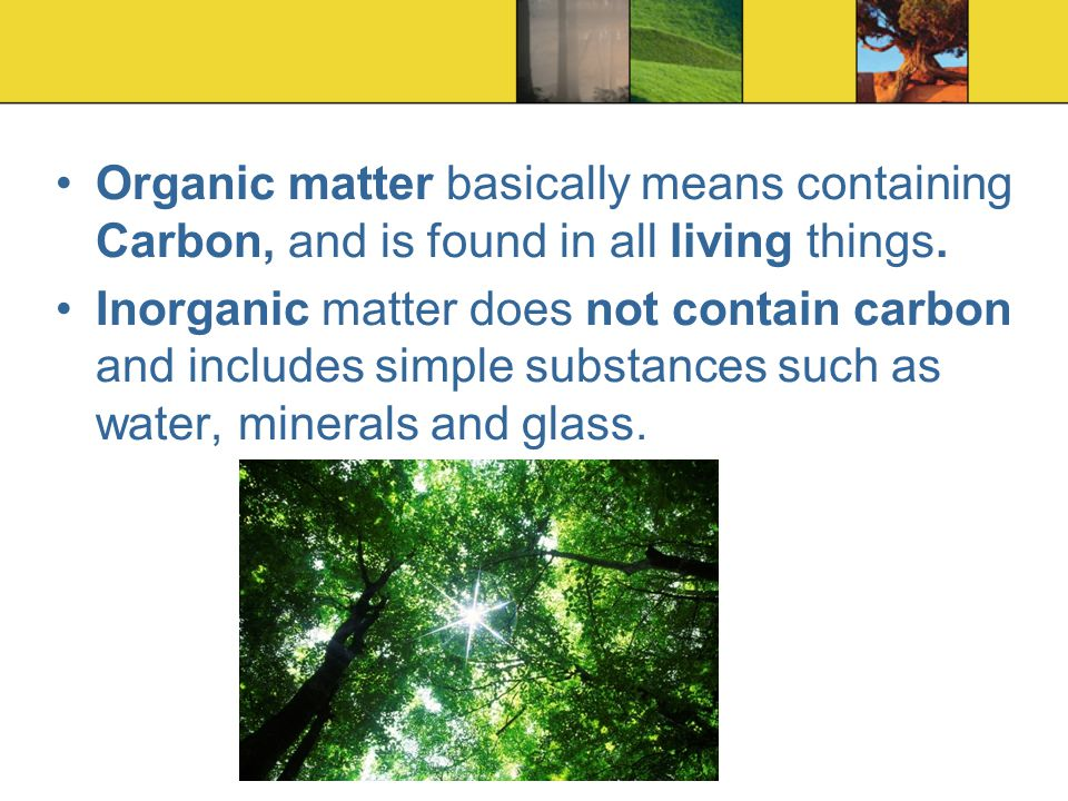 Organic matter basically means containing Carbon, and is found in all living things. Inorganic matter does not contain carbon and includes simple subs
