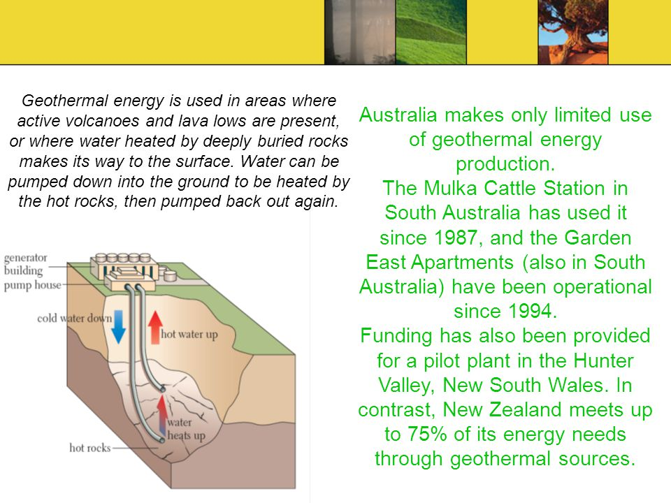 Geothermal energy is used in areas where active volcanoes and lava lows are present, or where water heated by deeply buried rocks makes its way to the