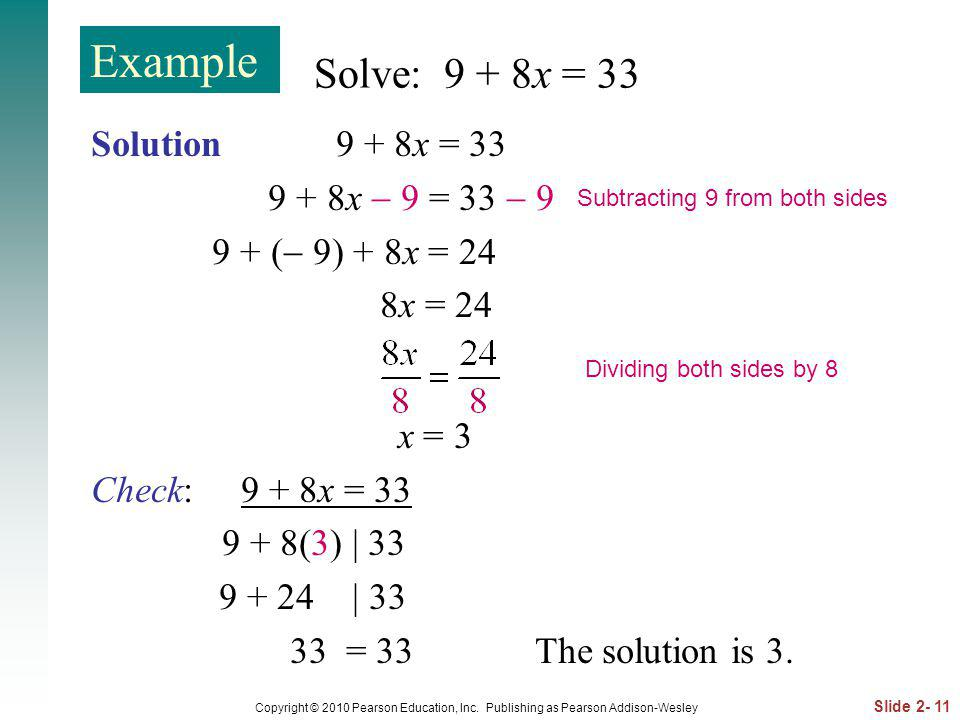 Slide 2- 11 Copyright © 2010 Pearson Education, Inc. Publishing as Pearson Addison-Wesley Solve: 9 + 8x = 33 Solution 9 + 8x = 33 9 + 8x 9 = 33 9 9 +