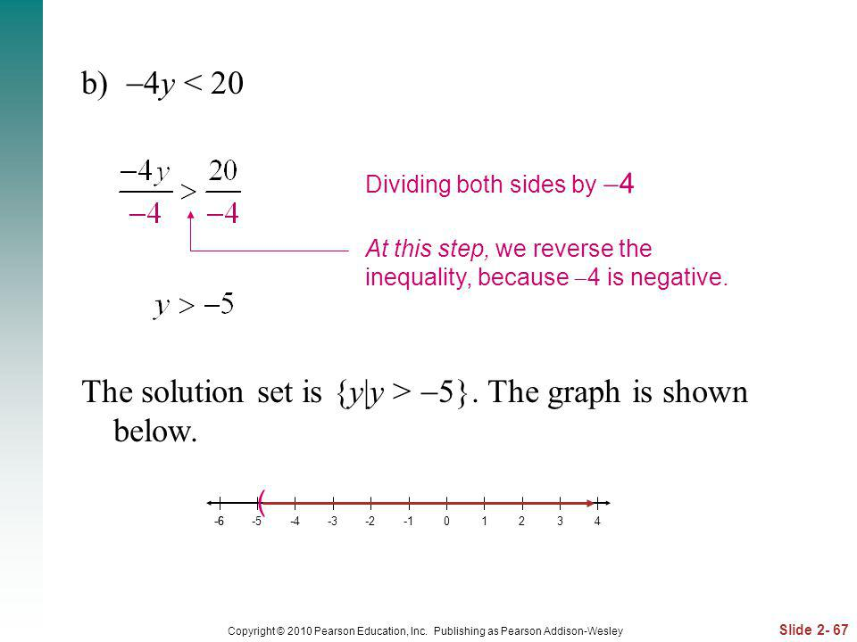 Slide 2- 67 Copyright © 2010 Pearson Education, Inc. Publishing as Pearson Addison-Wesley b) 4y < 20 The solution set is {y|y > 5}. The graph is shown