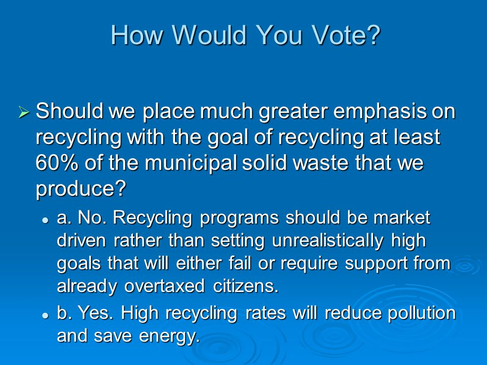 How Would You Vote? Should we place much greater emphasis on recycling with the goal of recycling at least 60% of the municipal solid waste that we pr