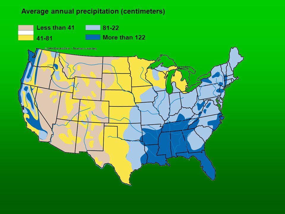 Average annual precipitation (centimeters) Less than 41 41-81 81-22 More than 122