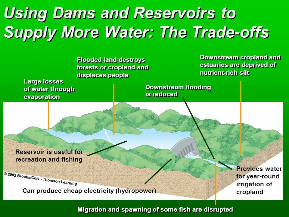Using Dams and Reservoirs to Supply More Water: The Trade-offs Large losses of water through evaporation Large losses of water through evaporation Flooded land destroys forests or cropland and displaces people Flooded land destroys forests or cropland and displaces people Downstream flooding is reduced Downstream cropland and estuaries are deprived of nutrient-rich silt Downstream cropland and estuaries are deprived of nutrient-rich silt Reservoir is useful for recreation and fishing Can produce cheap electricity (hydropower) Migration and spawning of some fish are disrupted Provides water for year-round irrigation of cropland