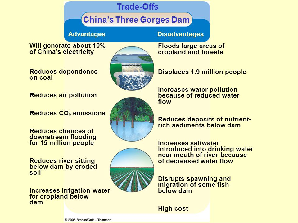 Trade-Offs Chinas Three Gorges Dam Advantages Disadvantages Will generate about 10% of Chinas electricity Reduces dependence on coal Reduces air pollu