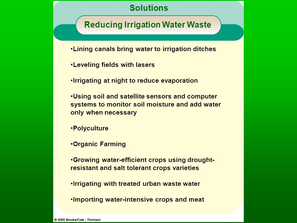 Solutions Reducing Irrigation Water Waste Lining canals bring water to irrigation ditches Leveling fields with lasers Irrigating at night to reduce evaporation Using soil and satellite sensors and computer systems to monitor soil moisture and add water only when necessary Polyculture Organic Farming Growing water-efficient crops using drought- resistant and salt tolerant crops varieties Irrigating with treated urban waste water Importing water-intensive crops and meat