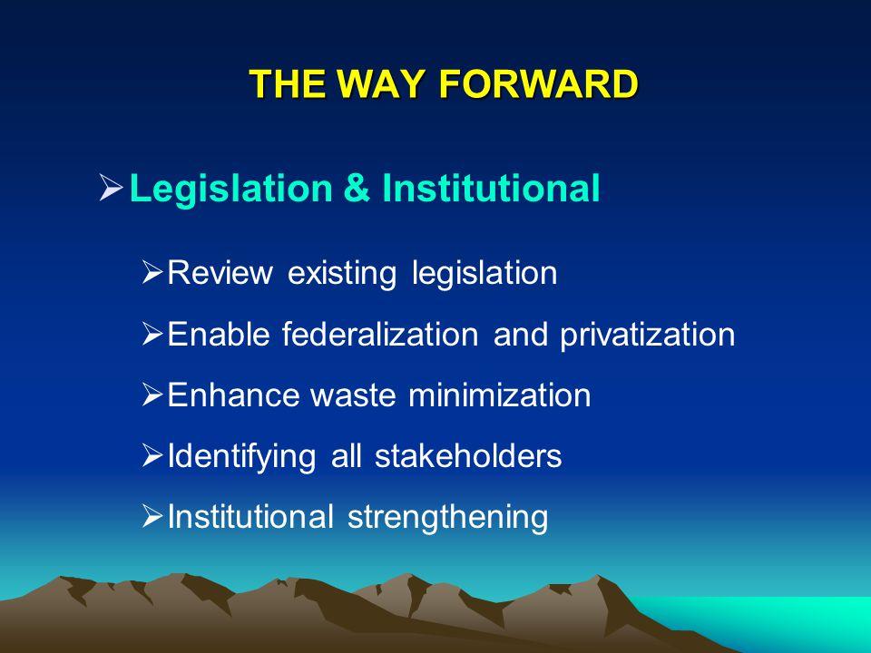 THE WAY FORWARD Legislation & Institutional Review existing legislation Enable federalization and privatization Enhance waste minimization Identifying
