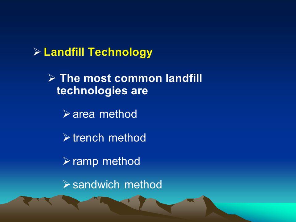 Landfill Technology The most common landfill technologies are area method trench method ramp method sandwich method