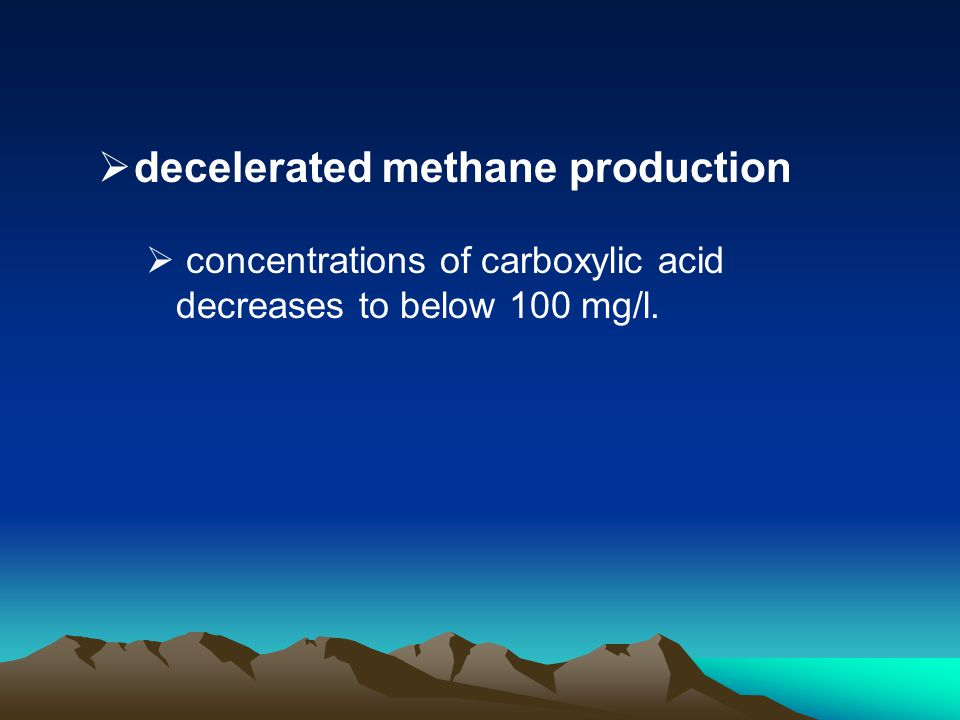 decelerated methane production concentrations of carboxylic acid decreases to below 100 mg/l.