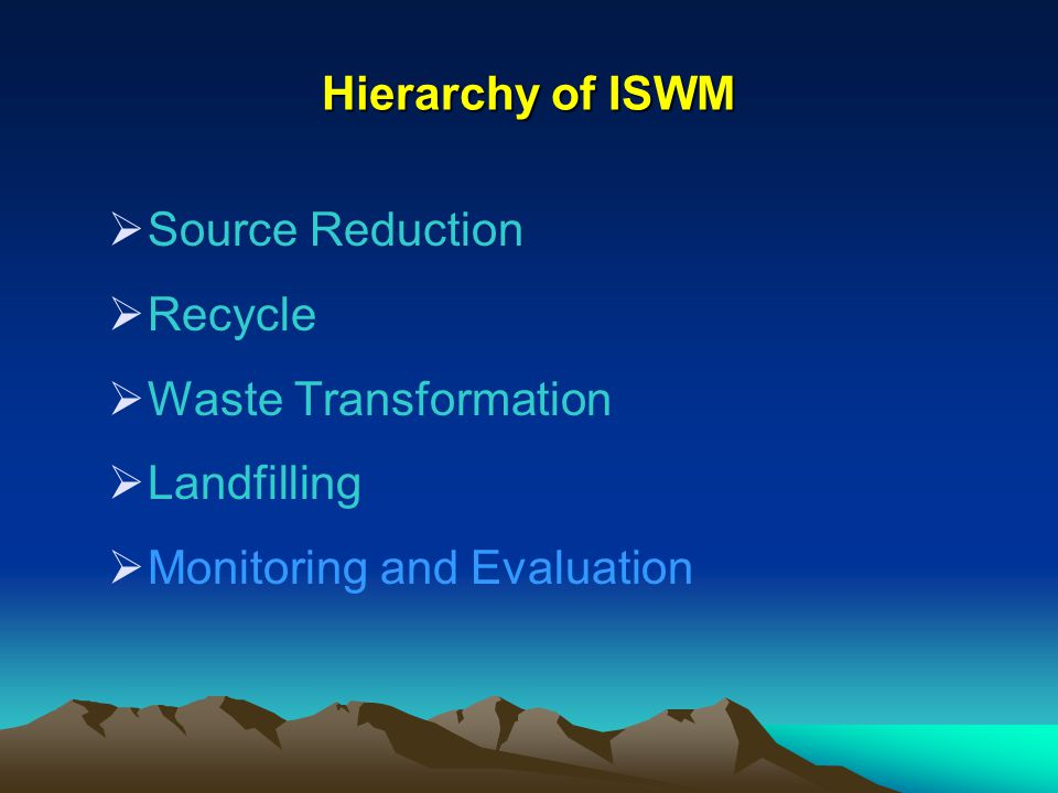 Hierarchy of ISWM Source Reduction Recycle Waste Transformation Landfilling Monitoring and Evaluation