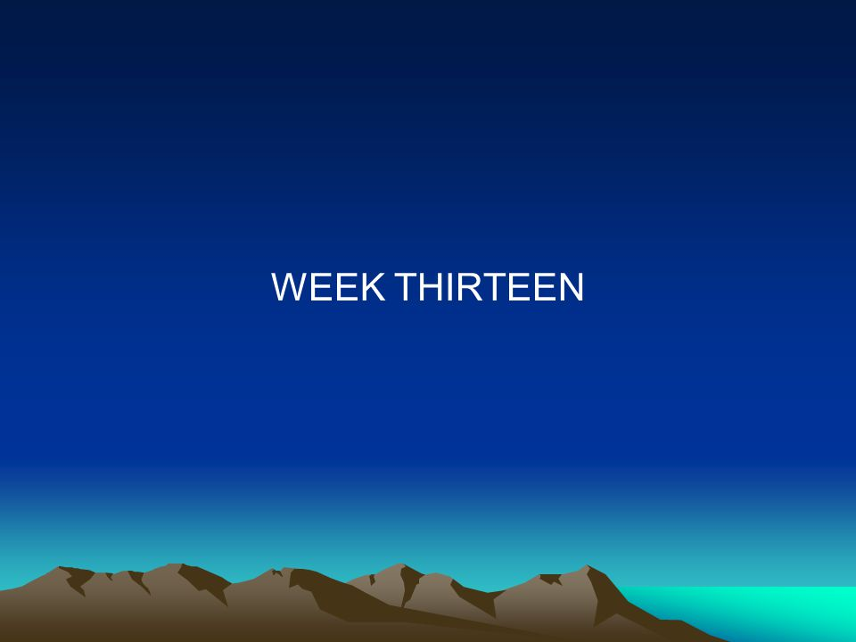 WEEK THIRTEEN