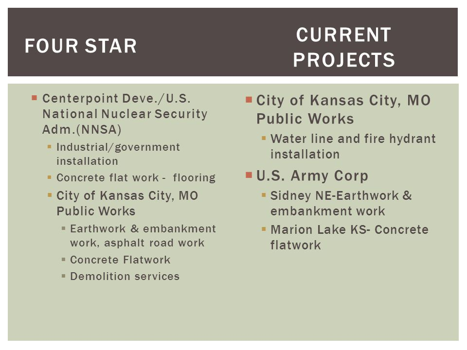Centerpoint Deve./U.S. National Nuclear Security Adm.(NNSA) Industrial/government installation Concrete flat work - flooring City of Kansas City, MO P