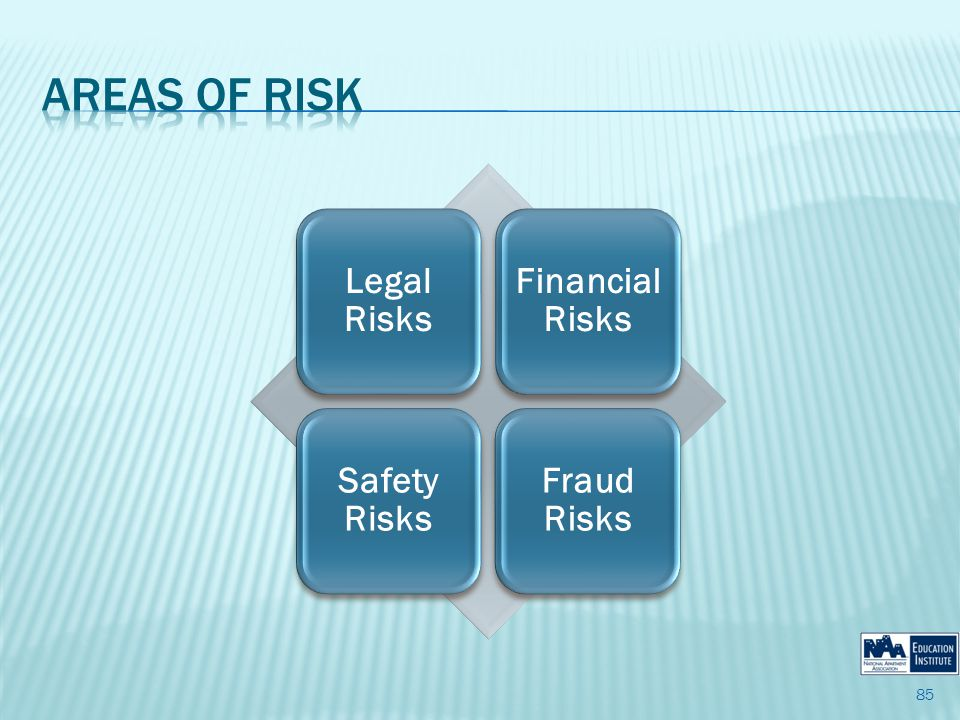 Legal Risks Financial Risks Safety Risks Fraud Risks 85