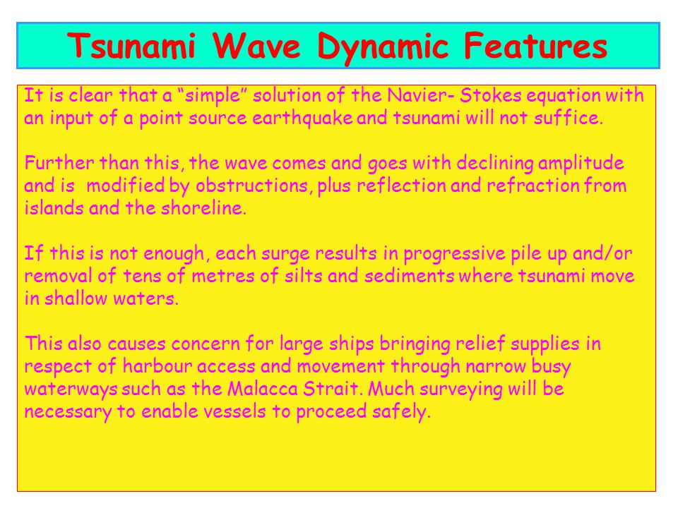 It is clear that a simple solution of the Navier- Stokes equation with an input of a point source earthquake and tsunami will not suffice.