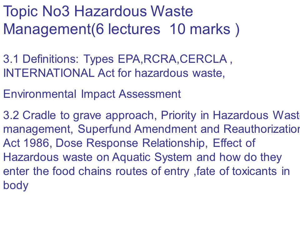 Examples of hazardous waste types generated by businesses and industries are given in Hazardous wastes that are characterized as ignitable, Pollutant Pesticides: Generally chlorinated hydrocarbons Polychlorinated biphenyls (PCBs): used in electrical capacitors and transformers, paints, plastics, insecticides, other industrial products Metals: antimony, arsenic, beryllium, cadmium, copper, lead, mercury, nickel, selenium, silver, thallium, zinc Asbestos Cyanide Halogenated aliphatics: used in fire extinguishers, refrigerants, propellants, pesticides, solvents for oils and greases and dry cleaning Characteristics Readily assimilated by aquatic animals, fat soluble, concentrated through food chain (biomagnified), persistent in soil and sediments Readily assimilated by aquatic animals, fat soluble, subject to biomagnification, persistent, chemically similar to chlorinated hydrocarbons Nonbiodegradable, persistent in sediments, toxic in solution, subject to biomagnification May cause cancer when inhaled, aquatic toxicity not well understood Variably persistent, inhibits oxygen metabolism Largest single class of priority toxics, can cause damage to central nervous system and liver, not very persistent