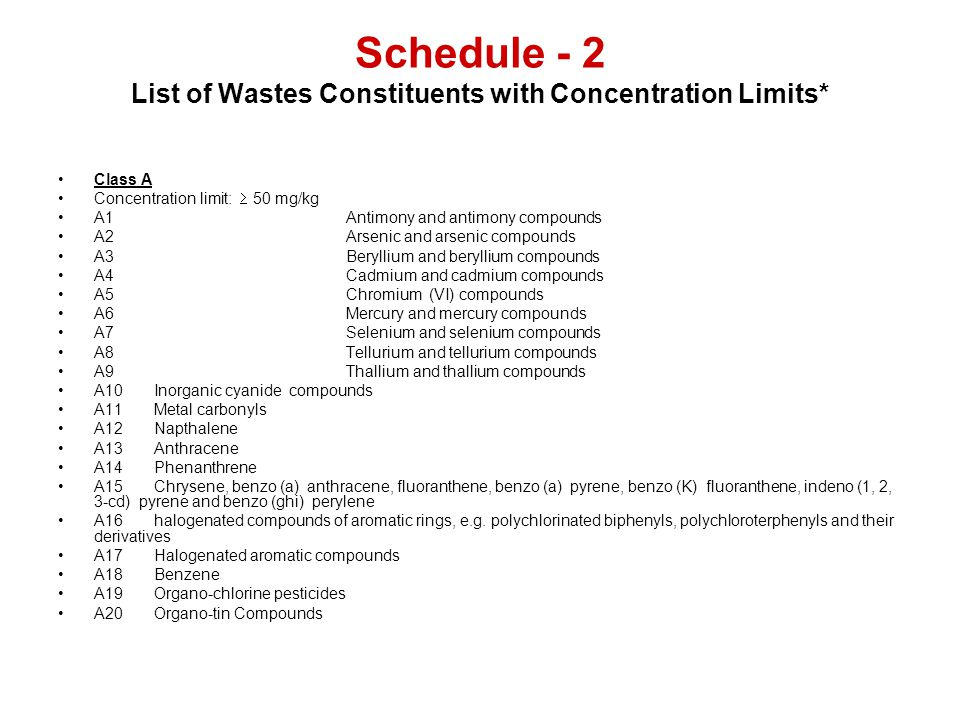Schedule - 2 List of Wastes Constituents with Concentration Limits* Class A Concentration limit: 50 mg/kg A1Antimony and antimony compounds A2Arsenic