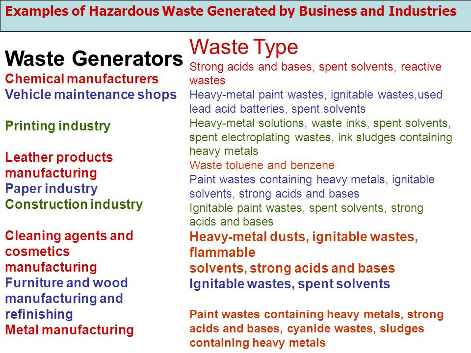 Examples of Hazardous Waste Generated by Business and Industries Waste Generators Chemical manufacturers Vehicle maintenance shops Printing industry L