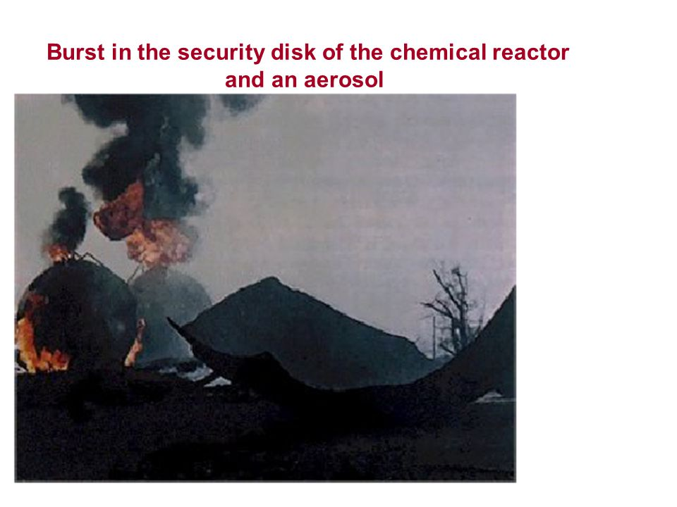 Burst in the security disk of the chemical reactor and an aerosol
