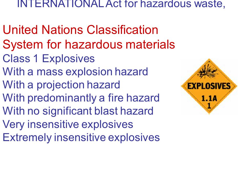INTERNATIONAL Act for hazardous waste, United Nations Classification System for hazardous materials Class 1 Explosives With a mass explosion hazard Wi