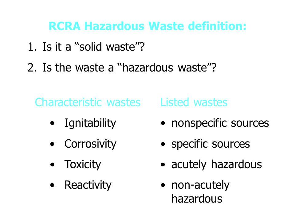 RCRAs Three Interrelated Programs Subtitle D Subtitle C Subtitle I Solid Waste Management Hazardous Waste Management Hazardous Waste Management Underground Storage Tank Program