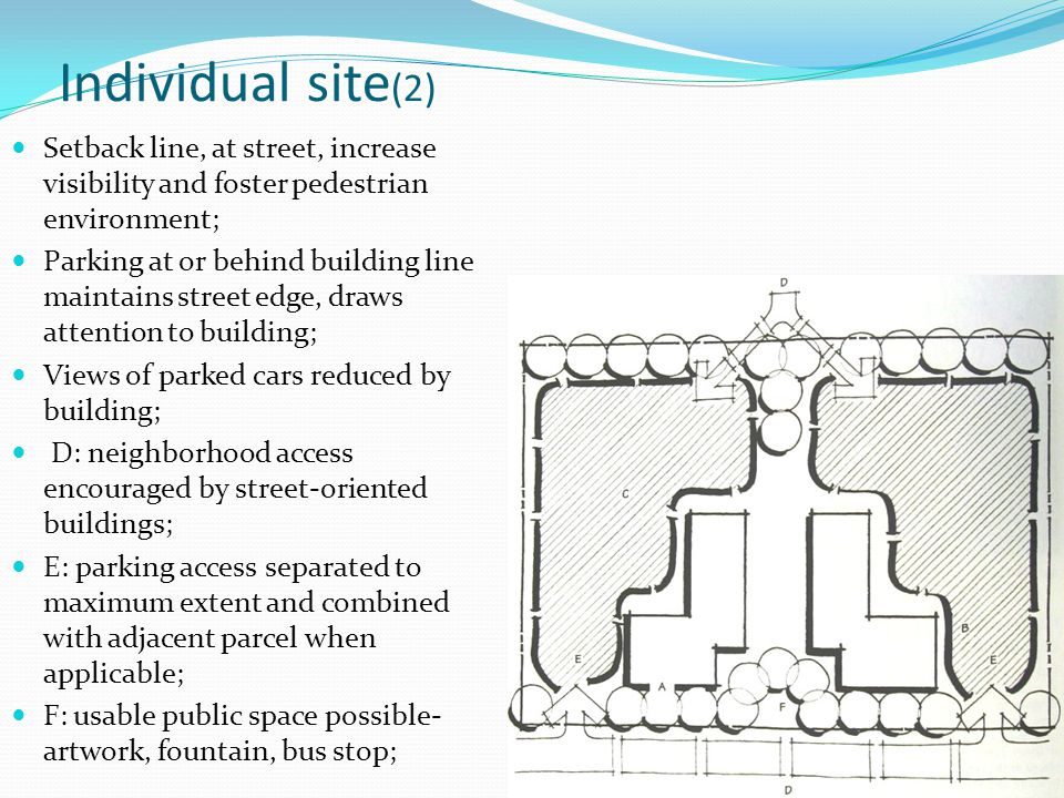 Individual site (2) Setback line, at street, increase visibility and foster pedestrian environment; Parking at or behind building line maintains stree