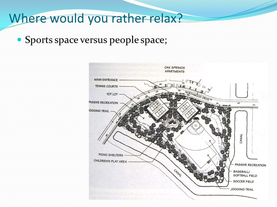 Where would you rather relax Sports space versus people space;