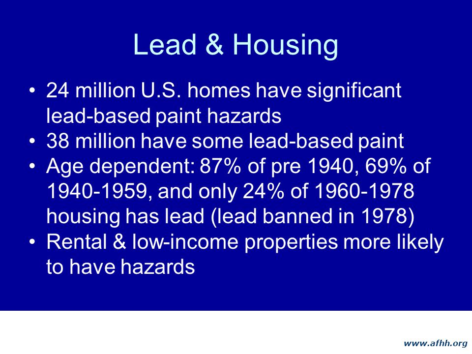 www.afhh.org Lead & Housing 24 million U.S.
