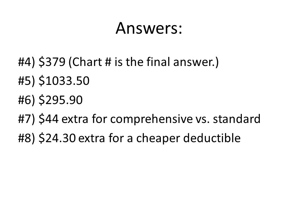 Answers: #4) $379 (Chart # is the final answer.) #5) $1033.50 #6) $295.90 #7) $44 extra for comprehensive vs. standard #8) $24.30 extra for a cheaper