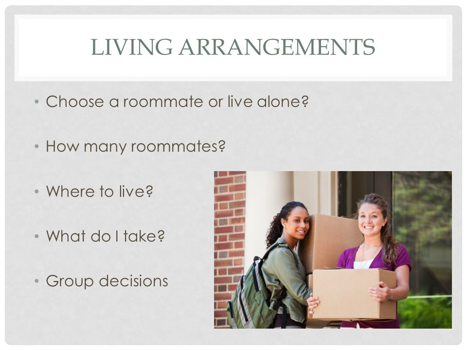 LIVING ARRANGEMENTS Choose a roommate or live alone.