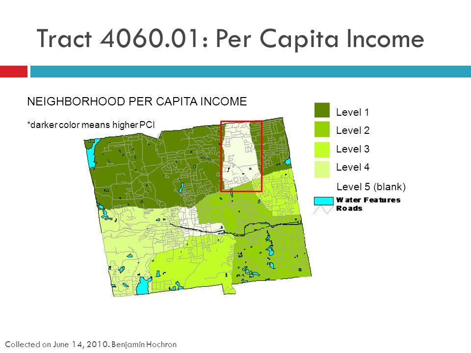 Tract 4060.01: Per Capita Income Collected on June 14, 2010.