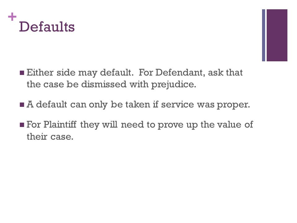 + Defaults Either side may default. For Defendant, ask that the case be dismissed with prejudice.