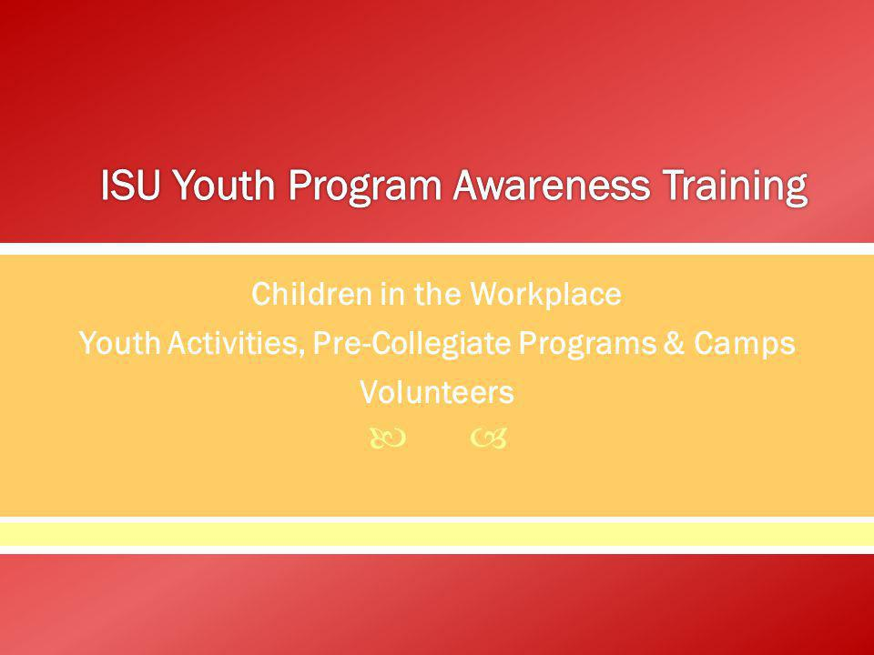 Children in the Workplace Youth Activities, Pre-Collegiate Programs & Camps Volunteers