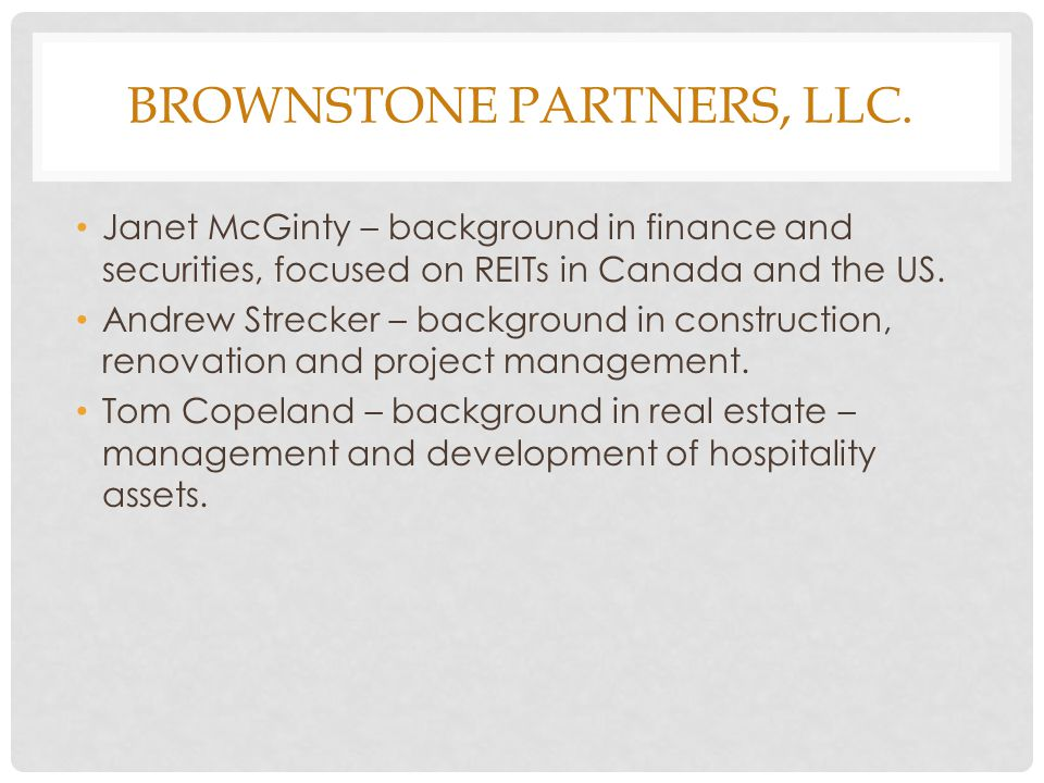 BROWNSTONE PARTNERS, LLC.