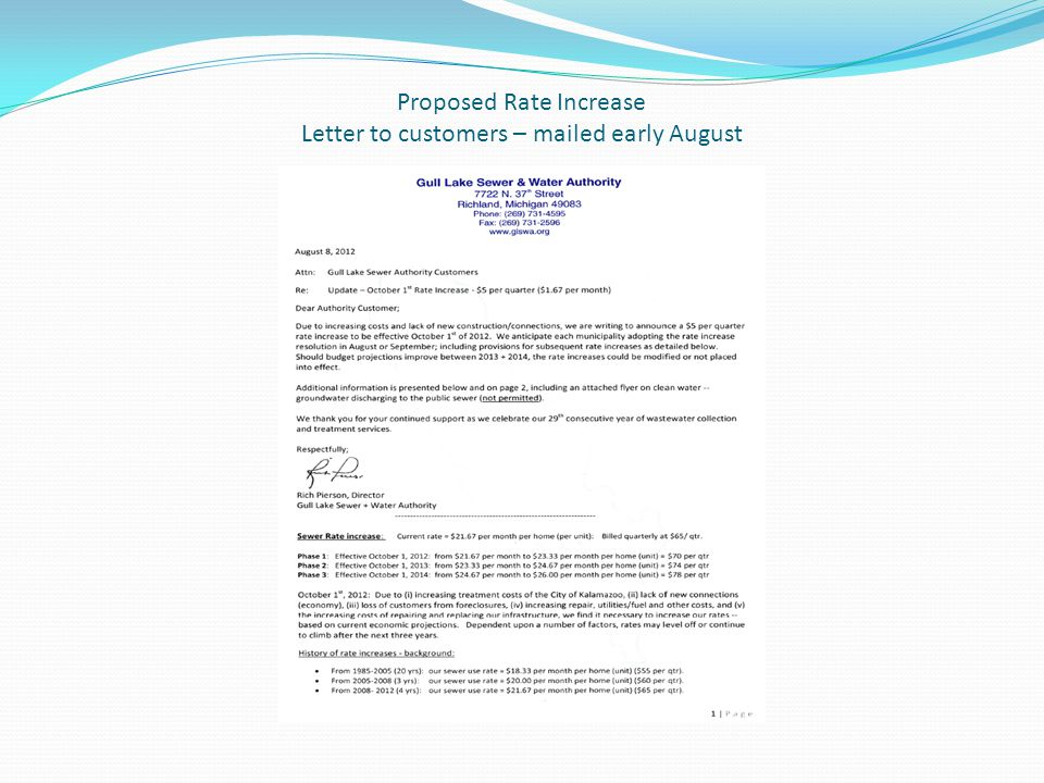 Proposed Rate Increase Letter to customers – mailed early August