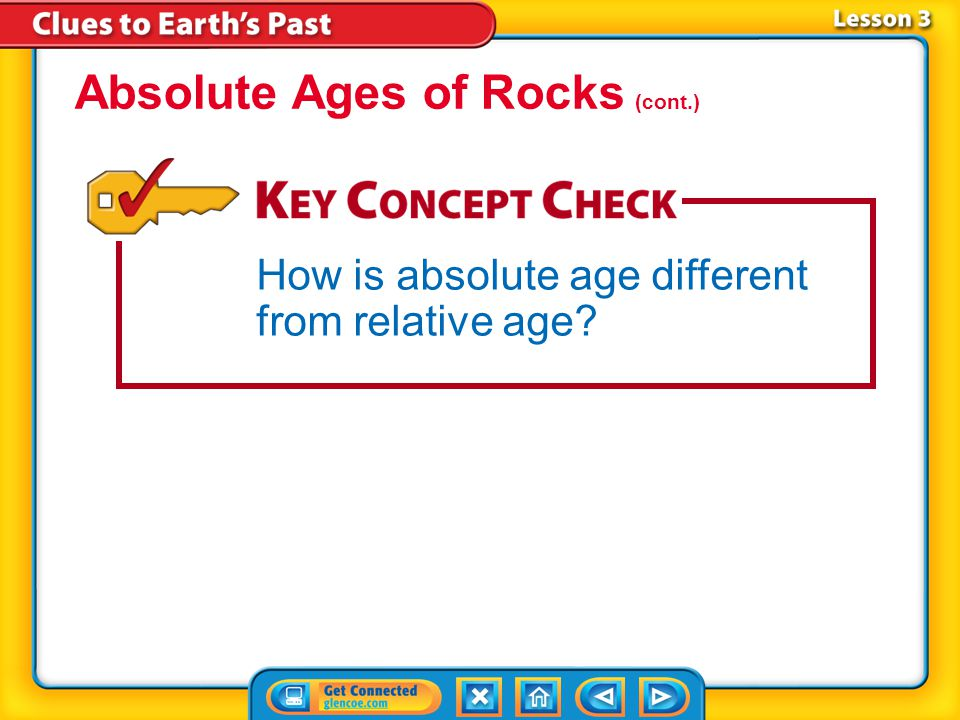 Lesson 3-1 Scientists use the term absolute age to mean the numerical age, in years, of a rock or object.absolute age Absolute Ages of Rocks Scientists have been able to determine the absolute ages of rocks and other objects since the beginning of the twentieth century, when radioactivity was discovered.
