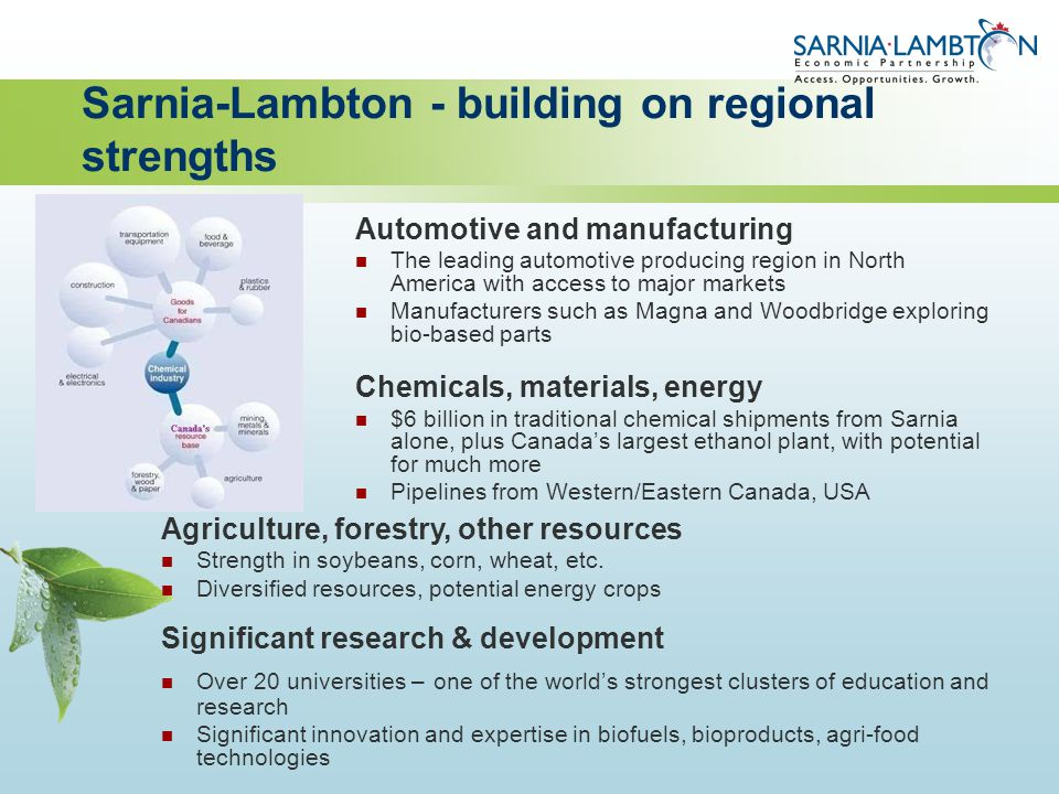 Sarnia-Lambton - building on regional strengths Automotive and manufacturing The leading automotive producing region in North America with access to m