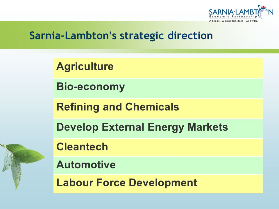 Sarnia-Lambton s strategic direction Agriculture Bio-economy Refining and Chemicals Develop External Energy Markets Cleantech Automotive Labour Force