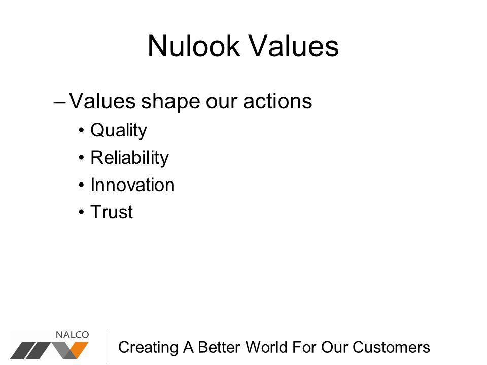 Creating A Better World For Our Customers Nulook Values –Values shape our actions Quality Reliability Innovation Trust