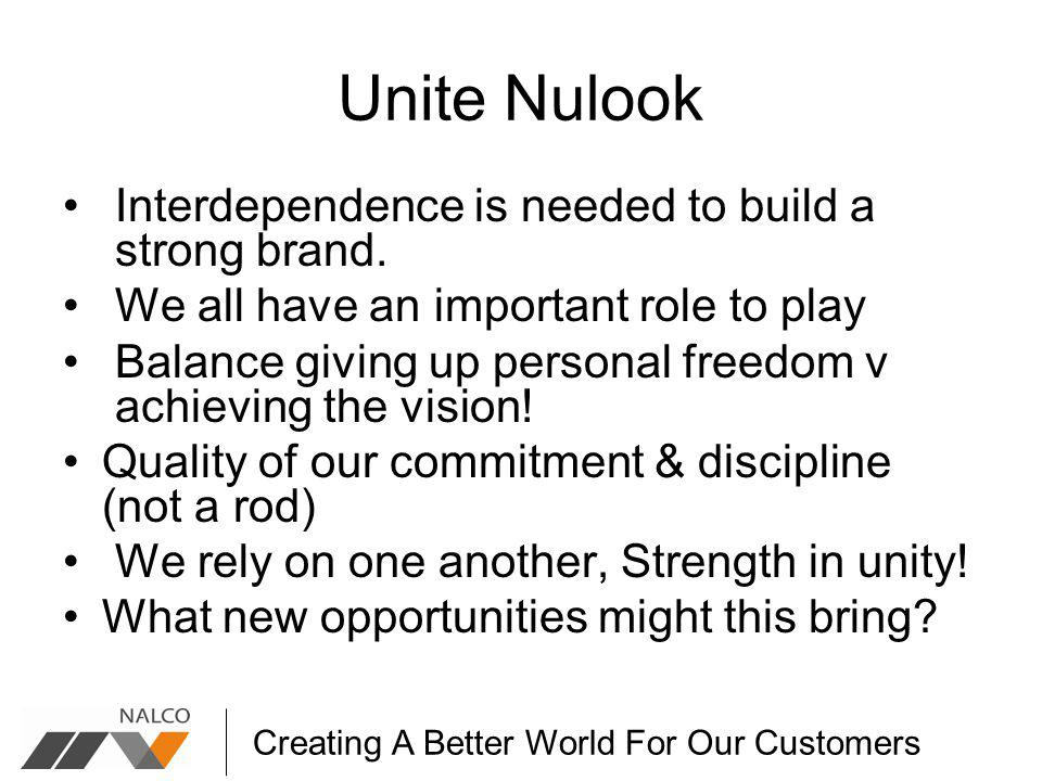 Creating A Better World For Our Customers Unite Nulook Interdependence is needed to build a strong brand.