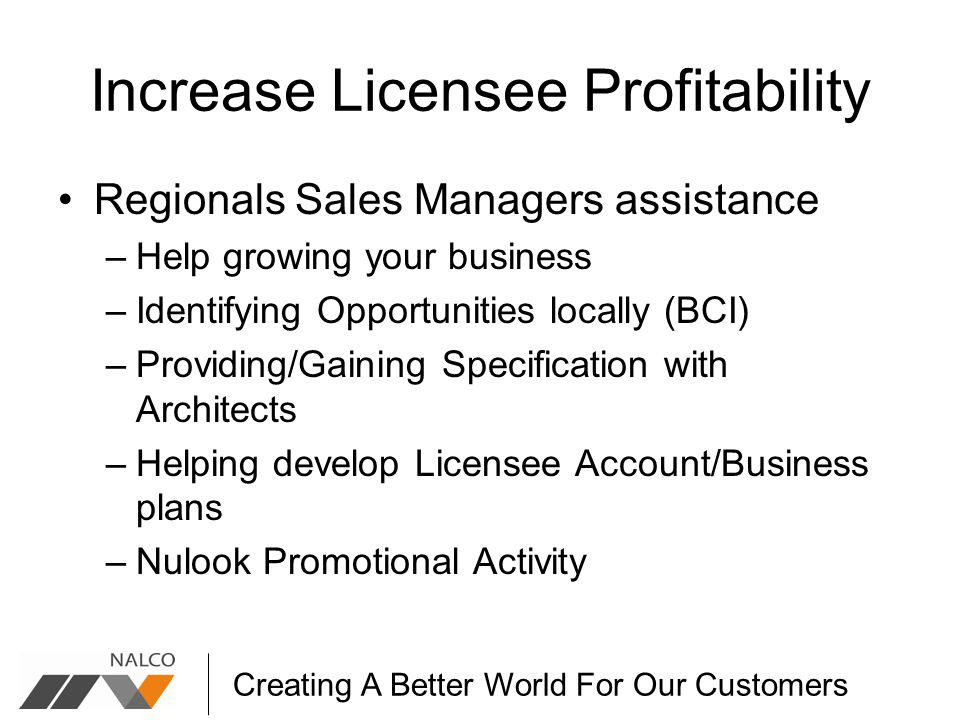 Creating A Better World For Our Customers Increase Licensee Profitability Regionals Sales Managers assistance –Help growing your business –Identifying Opportunities locally (BCI) –Providing/Gaining Specification with Architects –Helping develop Licensee Account/Business plans –Nulook Promotional Activity