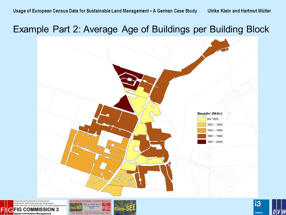 Usage of European Census Data for Sustainable Land Management – A German Case Study Ulrike Klein and Hartmut Müller Example Part 2: Average Age of Buildings per Building Block