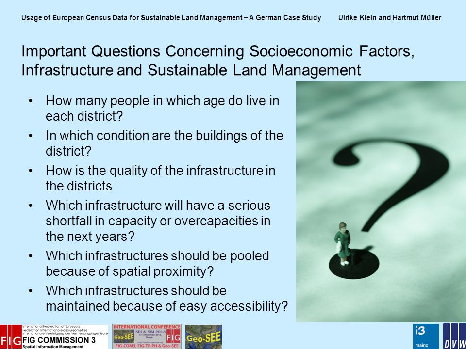 Usage of European Census Data for Sustainable Land Management – A German Case Study Ulrike Klein and Hartmut Müller How many people in which age do live in each district.