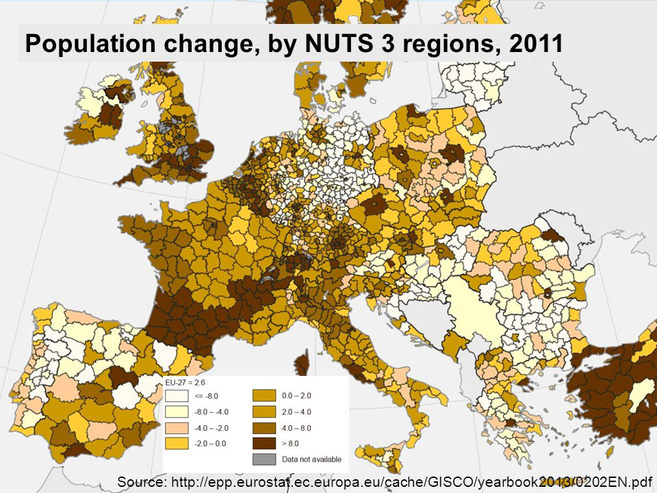 Usage of European Census Data for Sustainable Land Management – A German Case Study Ulrike Klein and Hartmut Müller Population change, by NUTS 3 regions, 2011 Source: http://epp.eurostat.ec.europa.eu/cache/GISCO/yearbook2013/0202EN.pdf