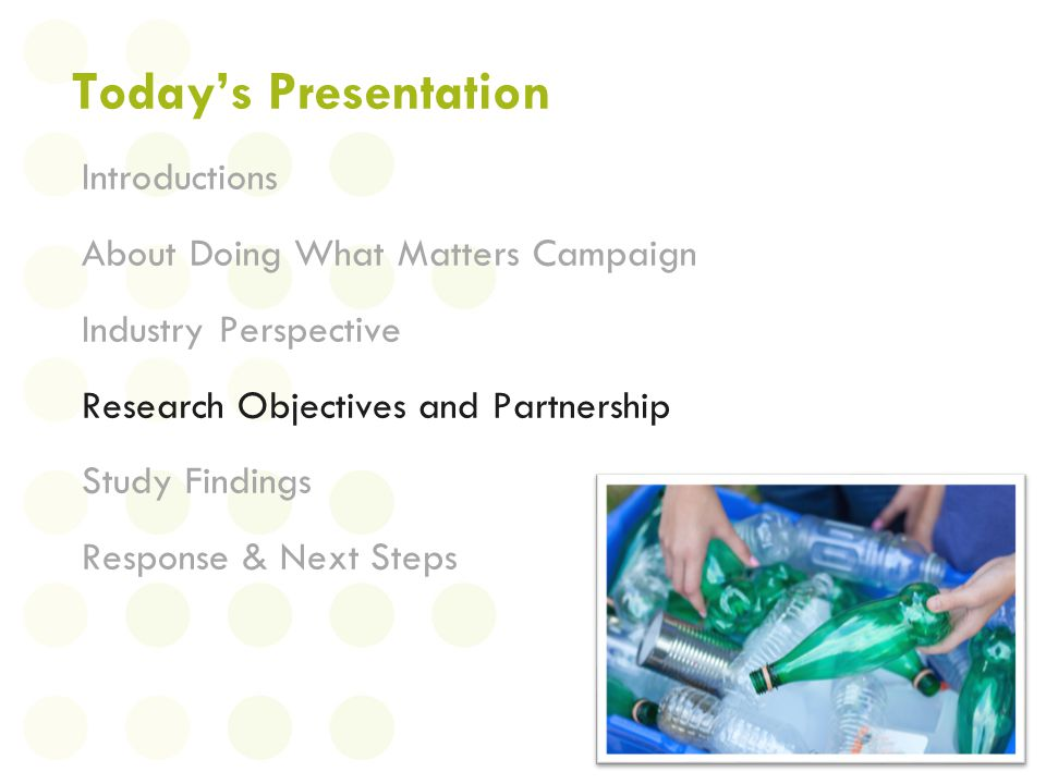Todays Presentation Introductions About Doing What Matters Campaign Industry Perspective Research Objectives and Partnership Study Findings Response &