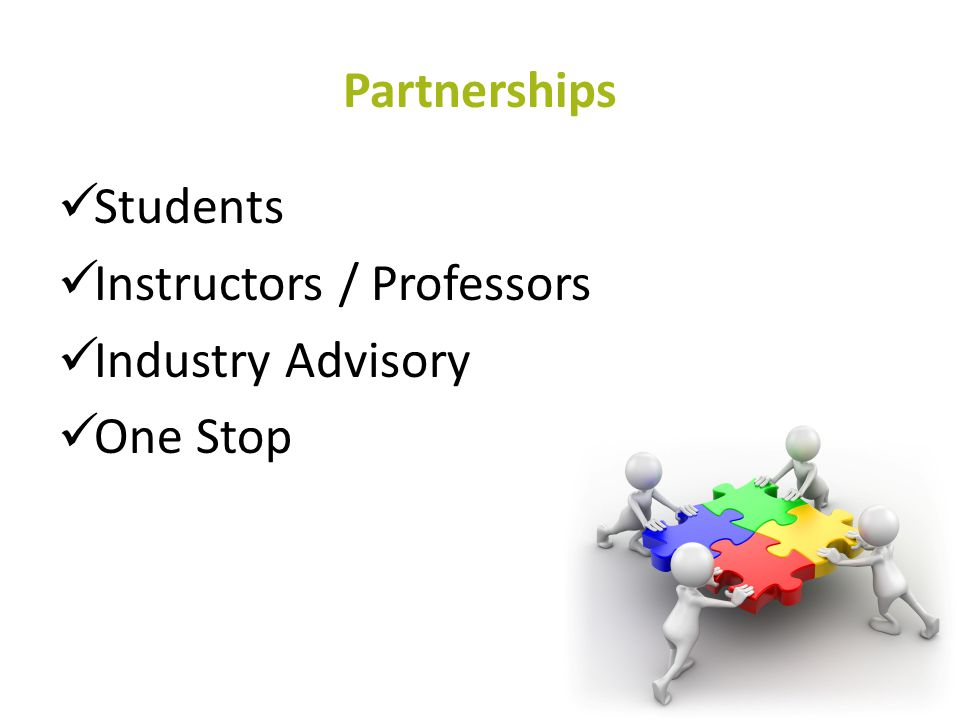 Partnerships Students Instructors / Professors Industry Advisory One Stop 51