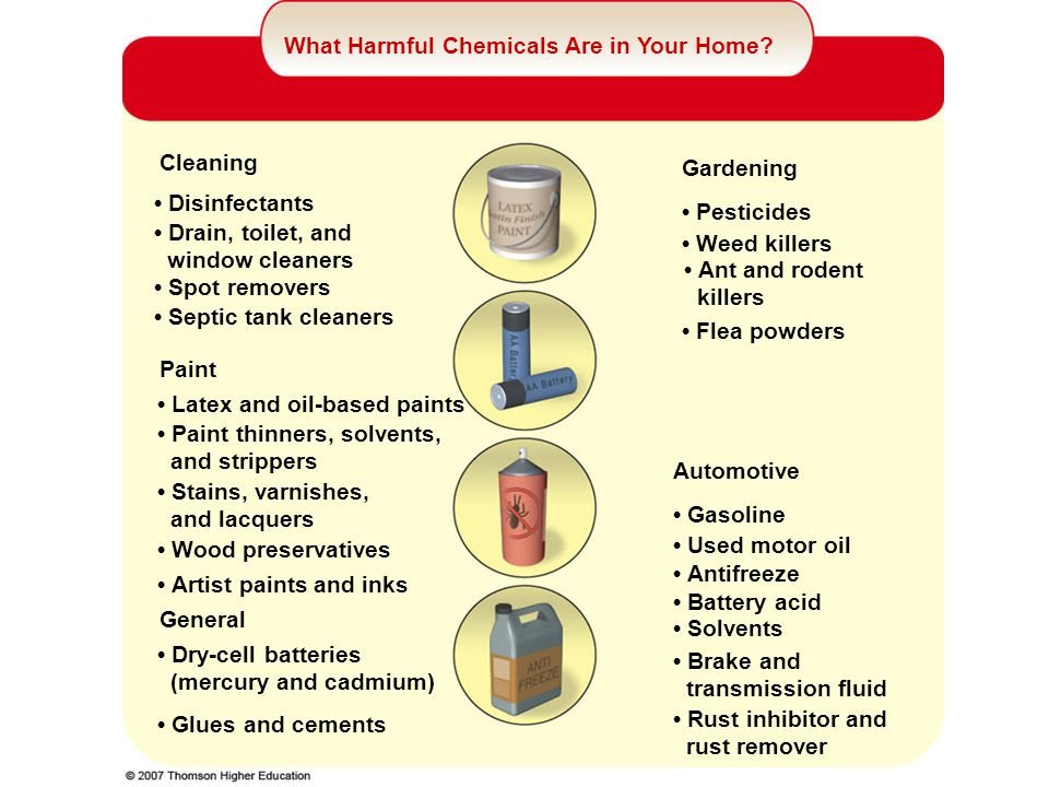 What Harmful Chemicals Are in Your Home? Glues and cements Dry-cell batteries (mercury and cadmium) Rust inhibitor and rust remover Brake and transmis