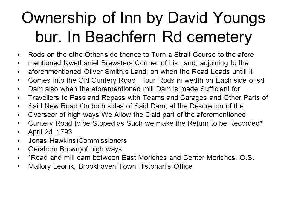 Ownership of Inn by David Youngs bur.