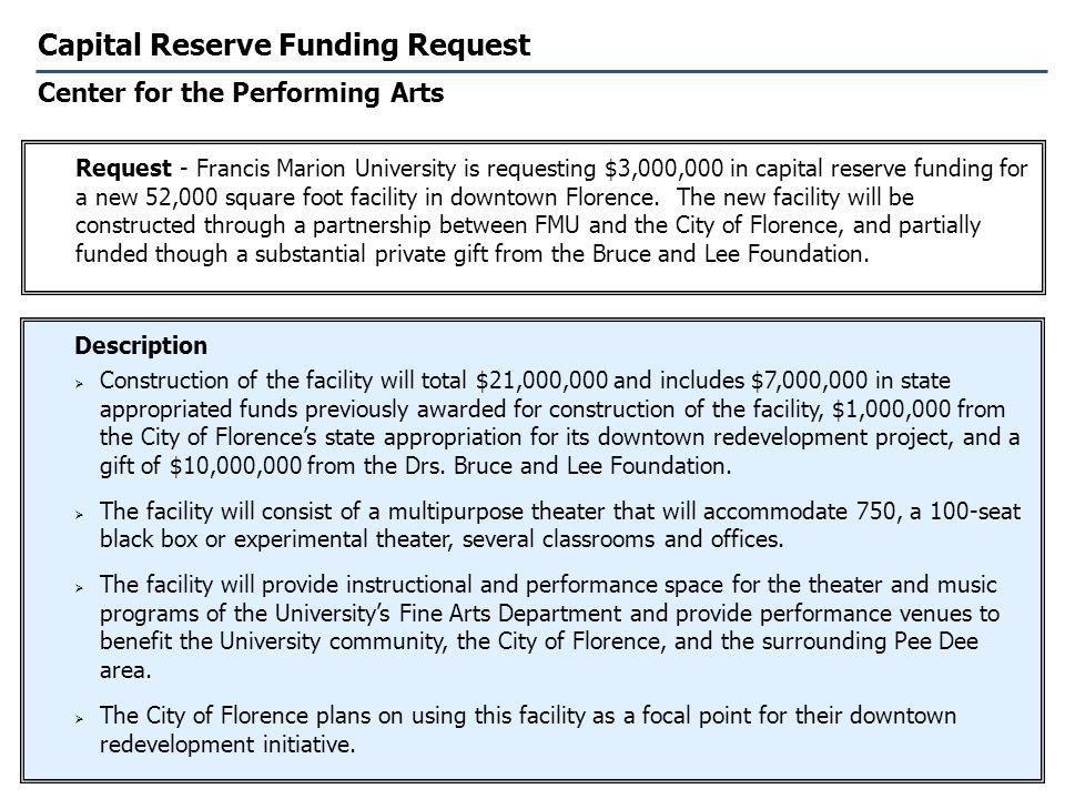 Capital Reserve Funding Request Center for the Performing Arts Description Construction of the facility will total $21,000,000 and includes $7,000,000 in state appropriated funds previously awarded for construction of the facility, $1,000,000 from the City of Florences state appropriation for its downtown redevelopment project, and a gift of $10,000,000 from the Drs.