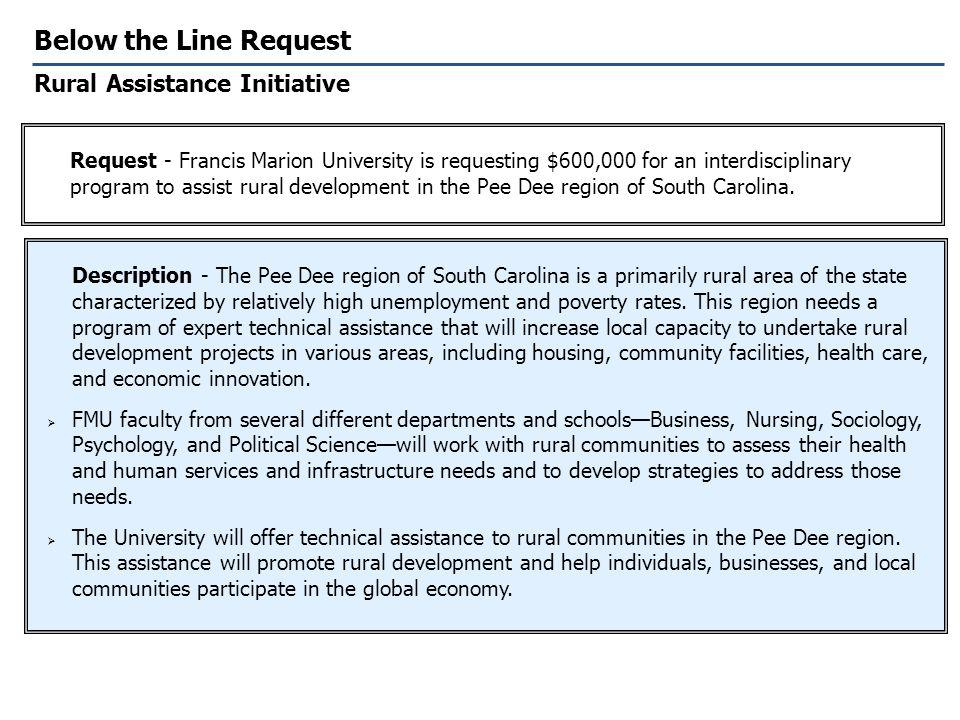 Below the Line Request Rural Assistance Initiative Description - The Pee Dee region of South Carolina is a primarily rural area of the state characterized by relatively high unemployment and poverty rates.
