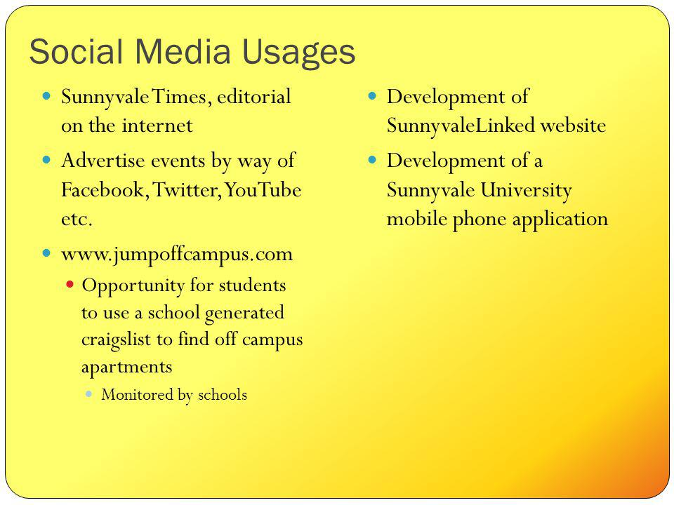 Social Media Usages Sunnyvale Times, editorial on the internet Advertise events by way of Facebook, Twitter, YouTube etc.